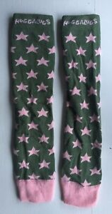 Fine Fab Huggalugs Baby/toddler Leg Warmers Khaki With Pink Stars Baby Wearing Firm In Structure