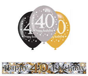 Image Is Loading 40TH BIRTHDAY GOLD BLACK SILVER PARTY PACK WITH