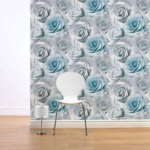 Muriva-Madison-Rose-Floral-Papier-Peint-Bleu-119503-Neuf-Fleur-Aspect-Mur