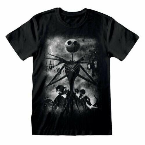 Men/'s The Nightmare Before Christmas Stormy Skies Black T-Shirt Disney Tee
