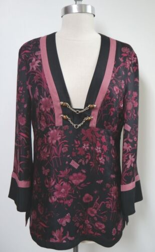 GUCCI black burgundy floral butterfly print silk … - image 1