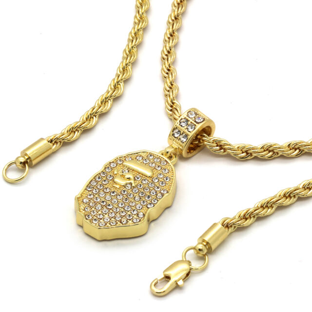 14k gold plated custom iced out hip hop bling cz ape pendant with 24 14k gold plated custom iced out hip hop bling cz ape pendant with 24 rope aloadofball Images