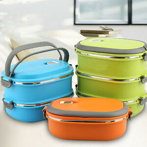 Fashion Stainless Steel Thermal Insulated Lunch Box Bento Food Picnic Container