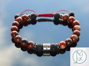 Aries Jasper/Lava Birthstone Bracelet 6-9'' Macrame Healing Stone Chakra Reiki