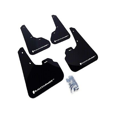 White Mud Flap with Logo 2010+ Mazda3//Speed3 UR Rally Armor MF17-UR-BLK//WH Black