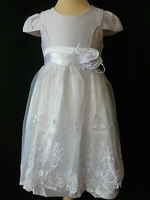 Kids' Clothing, Shoes & Accs Girls White Rose Embroidered Flower Wedding Party Dress Age 3-4 Years Uk New Dresses