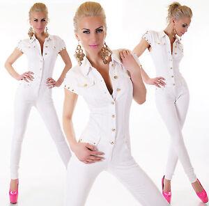 s donna l bianco Tuta intera Tuta lunghe xl da m Xs in maniche denim con O5xwnZPwqU