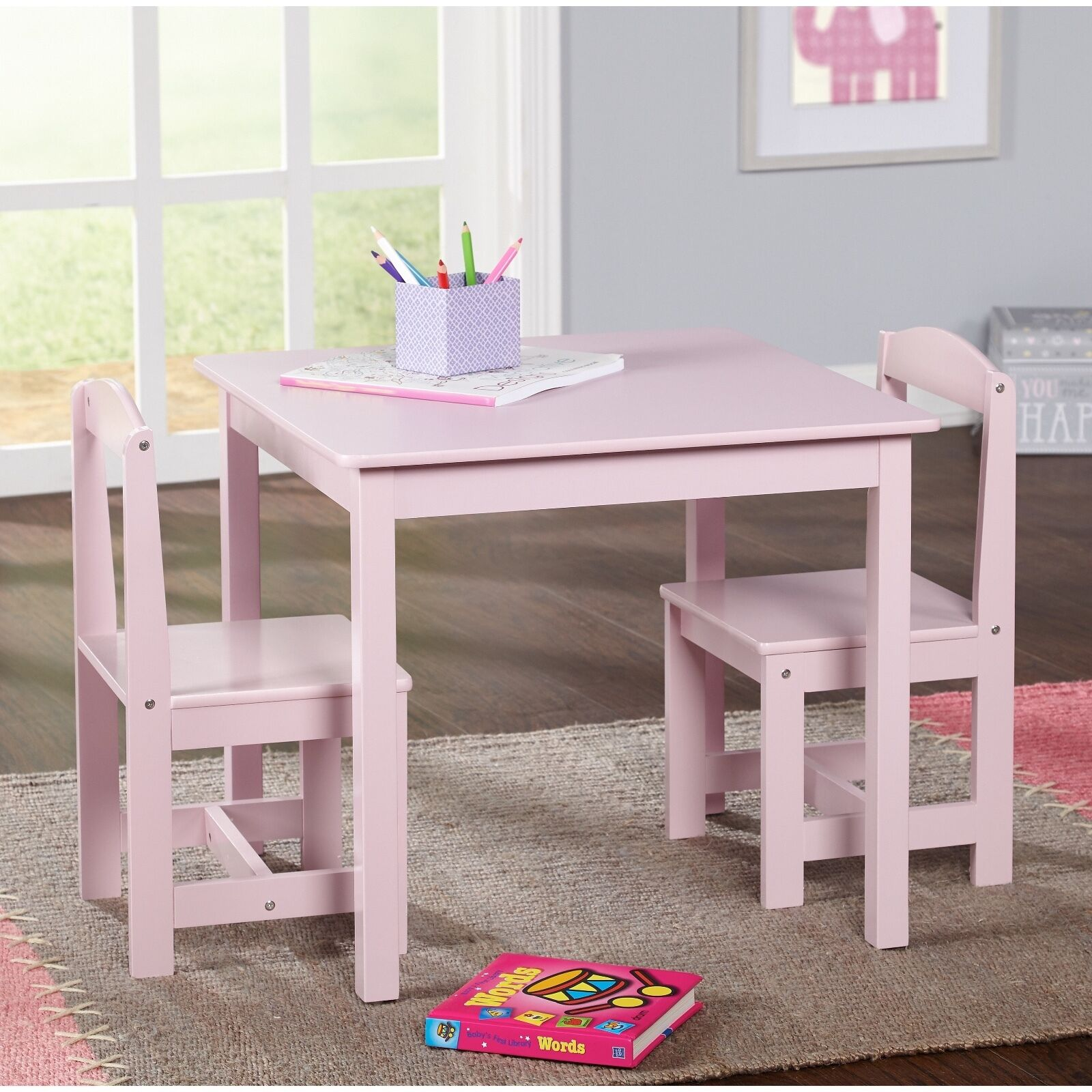 Wooden Table Chairs: Study Small Table And Chair Set Generic 3 Piece Wood