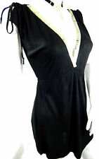 Black Gold Sequin Plunge Tunic Dress Top 8 Goth Rock Metal Burlesque Boho Wicca
