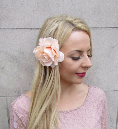 Large Champagne Pale Peach Rose Flower Hair Clip Fascinator 1950s Rockabilly j99