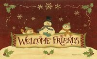 Country Christmas Winter Welcome Friends Snowman Family Floor Mat Rug Usa