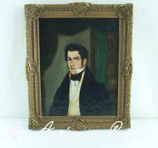 Antique Biedermeier Portrait Peinture à l'huile Image de monsieur en Cadre stuc