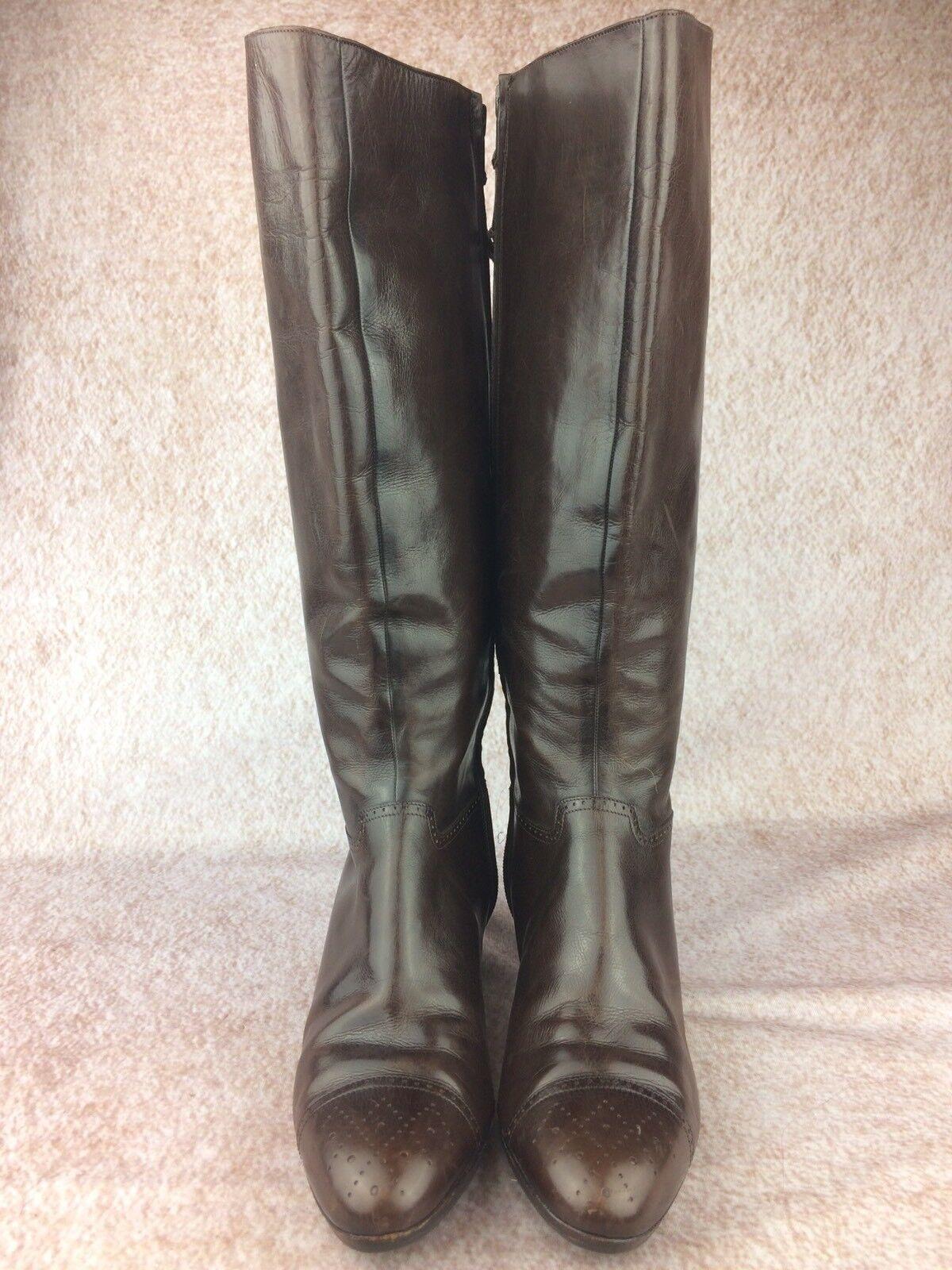 Salvatore Ferragamo Vintage Size 5.5  Brown Leather Zip Zip Zip High Riding Boots 761568