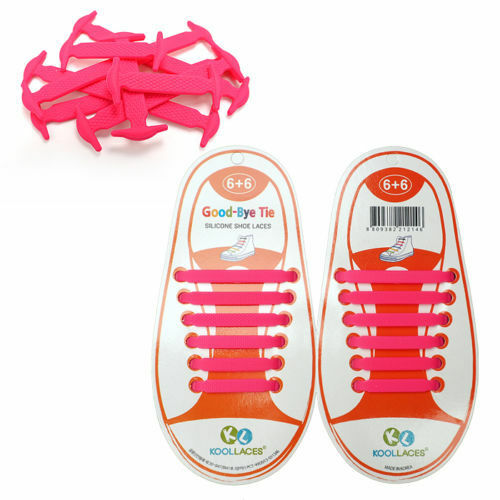 KIDS PINK Pull Lock Anchor Type Silicon Fashion No Tie Shoe Laces 12 pcs