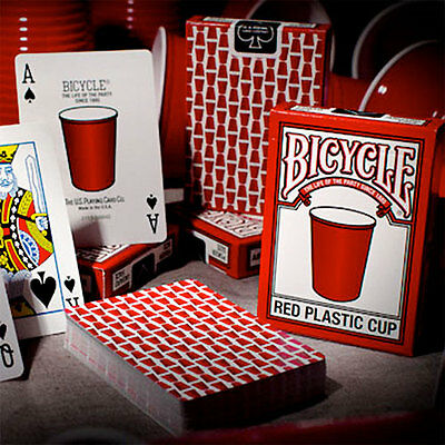 Bicycle Red Plastic Cup Deck Playing Cards Magic Tricks New