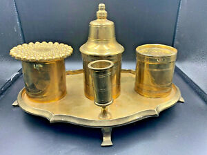 Heavy-brass-inkwell-dual-pen-writing-tray-set-Stamped-Reproduction