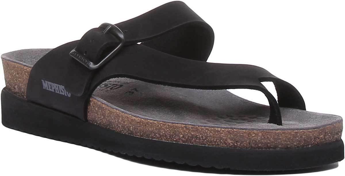 Mephisto Women Buckle Strap Sandal Leather Matt In Black Size UK 3 - 8
