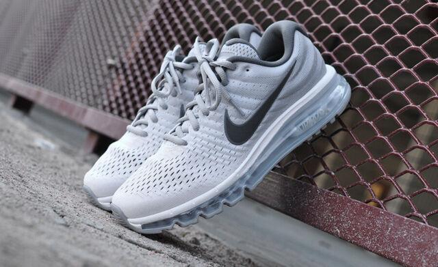 Mens Nike Air Max 2017 Running Shoes White Dark Grey Wolf Grey 849559 101 849559 101