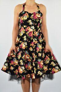 Lindy-Bop-Negro-Floral-Vestido-Flare-Algodon-Pin-Up-Rockabilly-fiesta-tamano-12-X