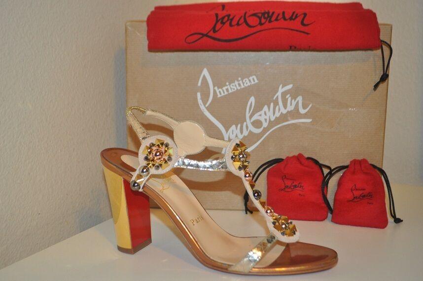 NIB Christian Louboutin KALEITOP Embellished 85 Block Heel Sandal shoes 38.5 -8.5