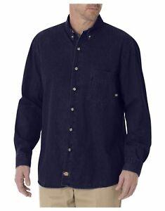 6167e622ab Dickies Mens Indigo Blue Long Sleeve Button-Down Work Denim Jean ...