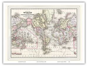 1897 World Map Mercator/'s Projection Poster Wall Art Decor Print History Globe