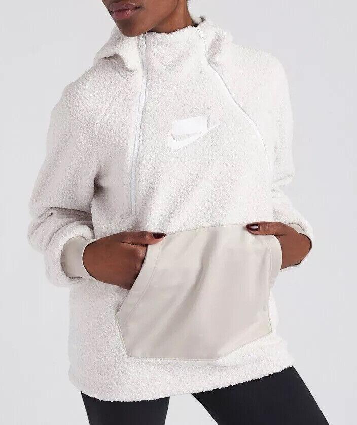 Nike Women's NSW Sherpa Pullover Hoodie Top 'Phantom' AJ7284-031 Size S/M New