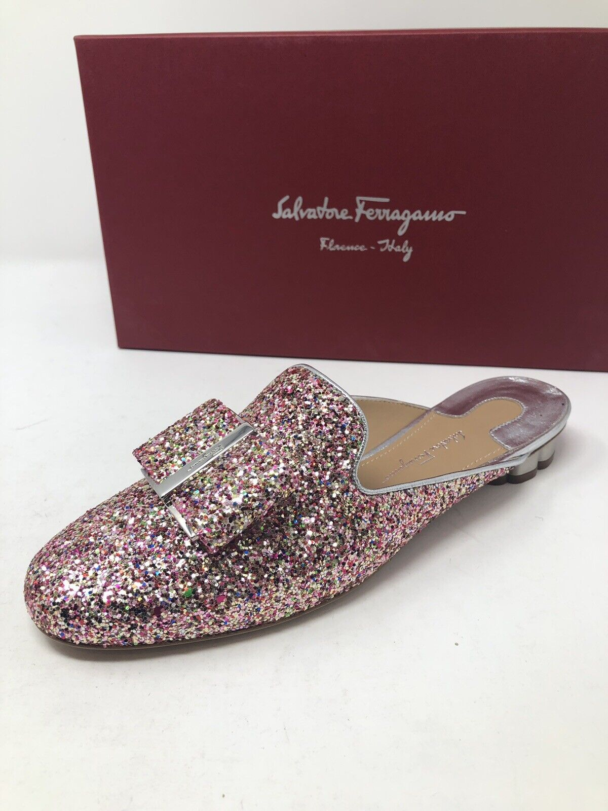550 New Salvatore Ferragamo Womens Sciacca Pink Slippers Ladies shoes Size 7.5