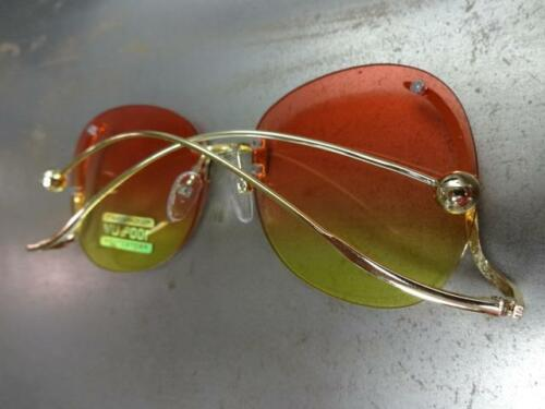 KIDS CHILDRENS RETRO Style SUN GLASSES Upside Down Gold Frame Pink /& Yellow Lens