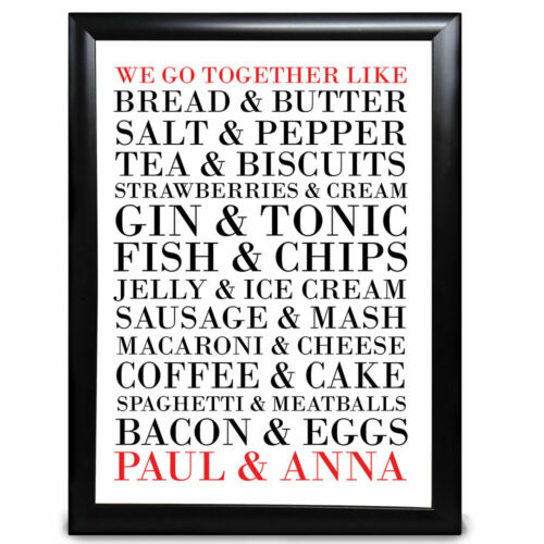 Personalised I Love You We Go Together Like Food Anniversary Valentines Birthday