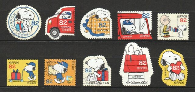 JAPAN 2017 SNOOPY & GIFT PEANUTS COMIC COMP. SET OF 10 STAMPS IN FINE USED