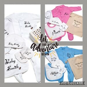 Kit-de-ropa-esencial-Personalizado-Para-Hospital-Bolsa-Pelele-Chaleco-Babero-Sombrero-Mitt