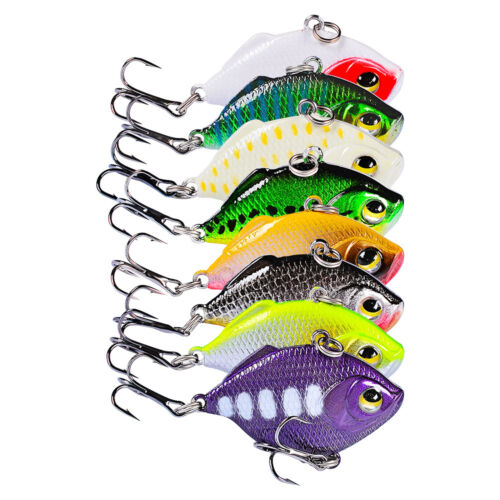 8PCS fishing Fish VIB Crankbait Minnow  hook Plastic lure baits 4.5cm//8.5g