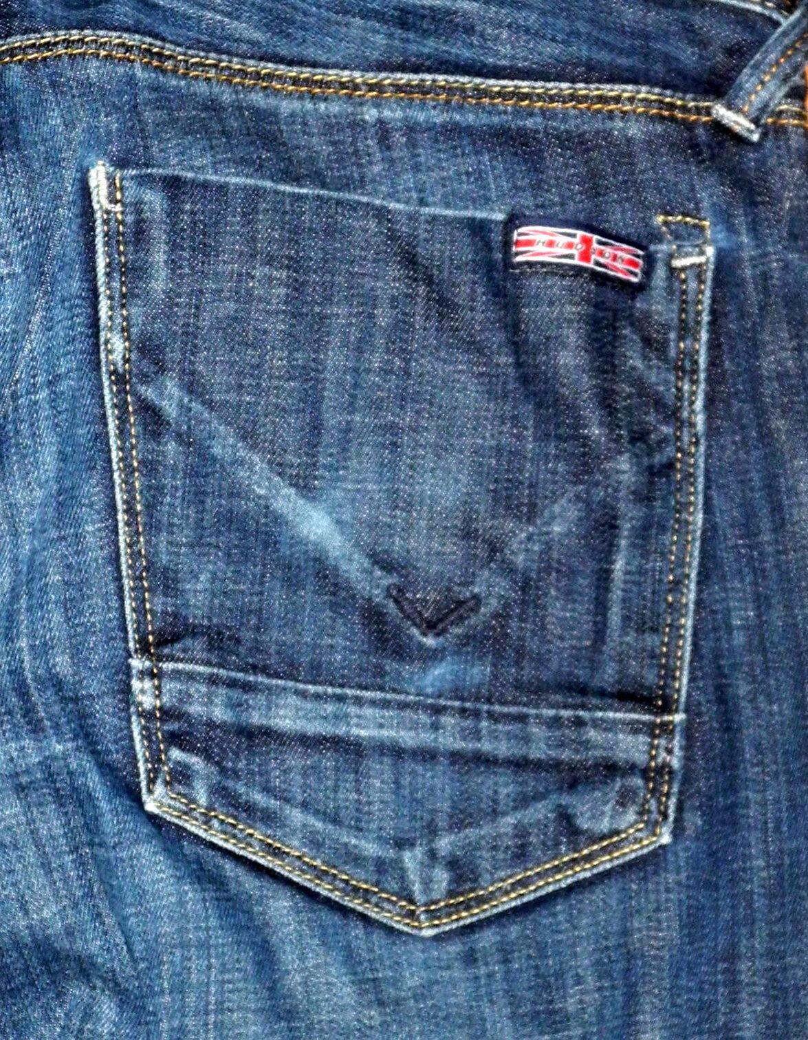 HUDSON Regular Straight Leg Button Fly Men's Dark bluee Stretch Jeans Sz 33x28