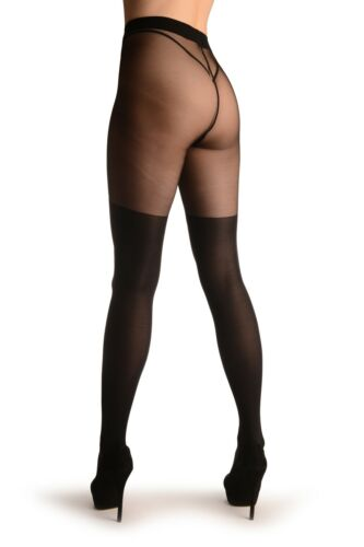 Black Faux Stockings With Printed Grey and Black Roses T002932