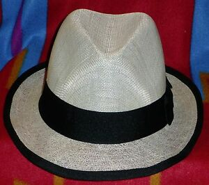 Image is loading Milani-100-Natural-Linen-Fedora-Hat-Size-S-M- c5562cf1cc1