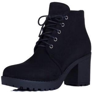 Mujer-Encaje-Grueso-Bloque-Talon-Plataforma-Botas-al-Tobillo-Zapatos