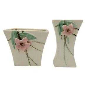 McCoy (Marked) Ceramic Planter & Vase -Blossom Time Matte White Vintage 1940s