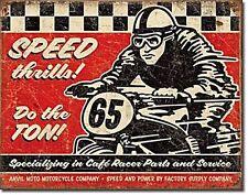 Speed Thrills Do The Ton Vintage Retro Metal Tin Sign Motorbike Garage Wall Deco