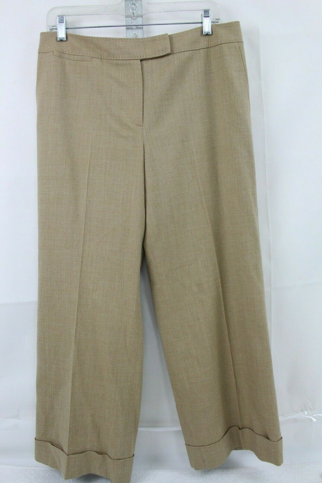 Talbots Stretch Polyester Blend Beige Lined Boot Cut Rolled Cuff Pants Size- 12P