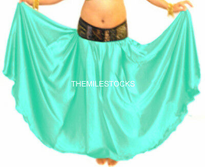 TMS Satin Half Circle Skirts Belly Dance Costume Gypsy Tribal Troup | 27 Colors