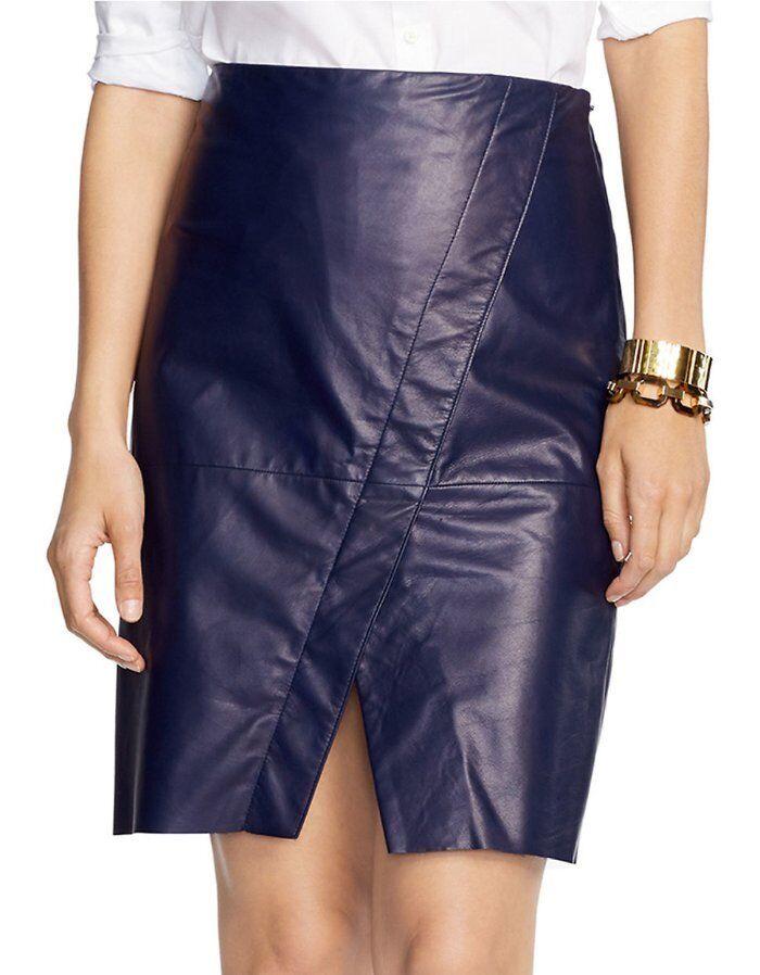 598 LAUREN Ralph Lauren bluee Leather Split Front Pencil Skirt 16 NEW R397