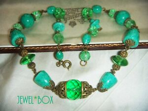 ART DECO BOHEMIAN CZECH SIGNED PEKING & URANIUM GLASS VINTAGE NECKLACE by NEIGER