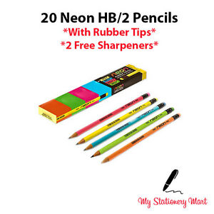 Pack of 20 NEON HB Pencil Eraser Rubber Tipped HB Pencils with 2 FREE Sharpeners 8908004279403