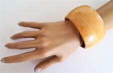 Splendidi 4 cm, ampia e TRAMA GROSSA MARRONE CHIARO IN LEGNO Braccialetto Bracciale