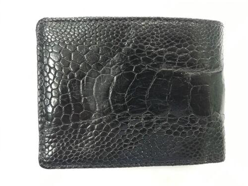 Black Genuine Ostrich Leg Skin Leather Men/'s Bifold Wallet Brown Red Brown