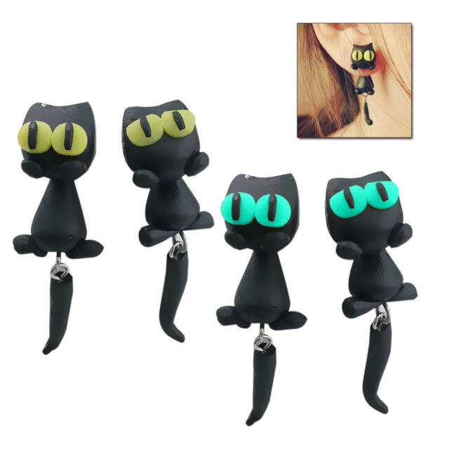 Funny Handmade Polymer Clay 3D Black Cat Big Eye Earrings Cartoon Stud