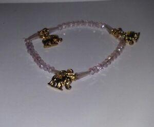 Details About Faux Light Pink Quartz Beaded Friendship Bracelet W Good Luck Elephant Charms