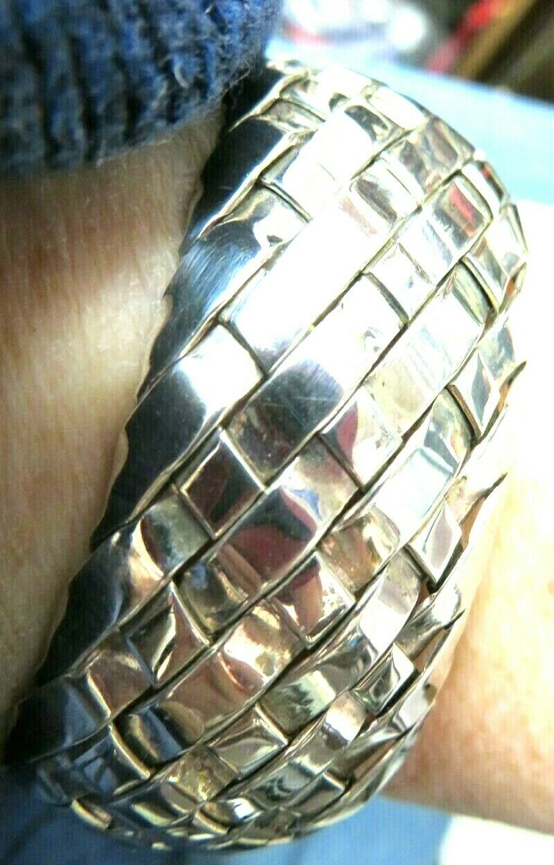 GORGEOUS SOLID-STERLING(925)MEXICAN-BRACELET-BASKETWEAVE DESIGN-6-1 8 x1x1x1-1 8