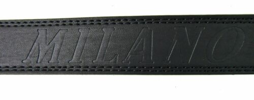 MENS HIGH QUALITY BLACK LEATHER SILVER BUCKLE BELT DESIGNED BY MILANO